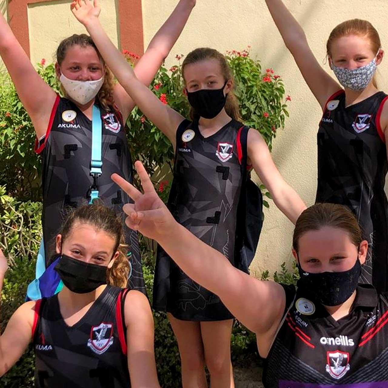 Dubai Exiles junior netball team after winning